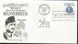 J) 1960 UNITED STATES, MASONIC GRAND LODGE, CHAMPION OF LIBERTY HONORING BARON KARL GUSTAF EMIL MANNERHEIM, FINLAND'S GR - United States