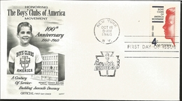 J) 1960 UNITED STATES, MASONIC GRAND LODGE, HONORING THE BOYS CLUBS OF AMERICA MOVEMENT 100th ANNIVERSARY, A CENTURY OF - United States