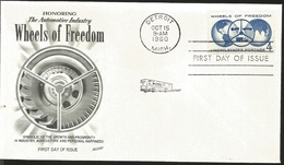 J) 1960 UNITED STATES, MASONIC GRAND LODGE, HONORING HE AUTOMOTIVE INDUSTRY WHEELS OF FREEDOM SYMBOLIC OF THE GROWTH AND - United States