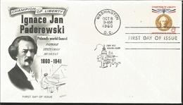 J) 1960 UNITED STATES, MASONIC GRAND LODGE, CHAMPION OF LIBERTY, IGNACE JAN PADEREWSKI POLAND'S WORLD FAME PATRIOT STATE - United States