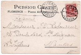 Carte Illustrée PENSION CASTRI à FLORENCE - Cachet FIRENZE FERROVIA - 1900-44 Vittorio Emanuele III