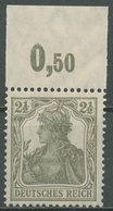 Deutsches Reich 1916/17 Germania Friedensgummi Oberrand 98 X P OR Postfrisch - Ungebraucht