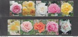 2014 Bermuda Flowers Roses  Complete Set Of 10 MNH - Bermuda