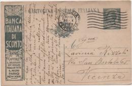 Cartolina Postale Leoni Cent. 15 Banca Italiana Di Sconto Viaggiata Con Annullo Venezia 25.10.1920 - Interi Postali