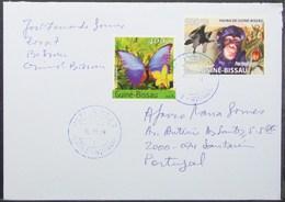Guine-Bissau - Cover To Portugal Bird Of Prey Monkey Butterfly Orchid Fruit - Schimpansen