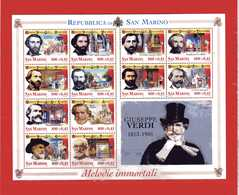 San. MARINO **- 2001 - GIUSEPPE VERDI - BF. 72 - .MNH.    (D) - Blocchi & Foglietti