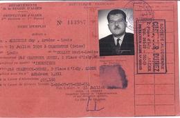 TITRE D'EMPLOI- REGION D'ALGER -PREFECTURE D'ALGER 4ème DIV-1er BUREAU N°1139876 1959 - Mappe