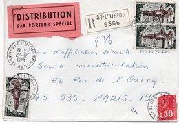 LSC 1973 - Vignette Distribution Par Porteur Spécial / Recommandé Et Cachet L'UNION (Haute Garonne) & Divers Cachets Dos - Marcofilie (Brieven)