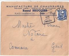 ENVELOPPE -MANUFACTURE DE CHASSURES -RAOUL BRUGUIER  UZES  1951 - France