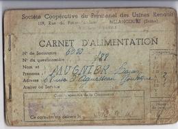 CARTE D'ALIMENTATION N°6050-Sété COOPERATIVE DU PERSONNEL DES USINES RENAULT  BILLANCOURT - Documents