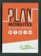 """Plan 2019 Réseau De Bus """"Plan Mobilité De Cergy-Pontoise"""" - Titres De Transport"""