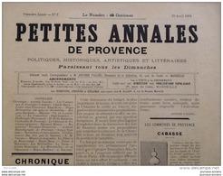 1894  CABASSE ( Var )  - LETTRE D'UN PROVENÇAL - PATHOLOGIE PROVENÇAL - CHÂTEAU DE TARASCON - Claude François ACHARD - Journaux - Quotidiens