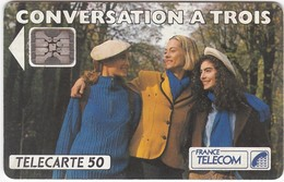 """TC059 TÉLÉCARTE 50 - PUBLICITÉ FRANCE TELECOM - OPTION """"CONVERSATION A TROIS"""" - 3 FEMMES - Telecom Operators"""