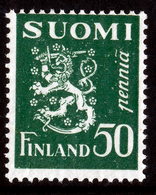 FINLAND 1932 Definitive Lions, MI 176** Dextrine Invisible Gum - Nuovi