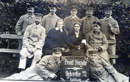 BELGIQUE BEVERLOO GUERRE 14-18 SOLDATS OFFICIER INFIRMIERES ALLEMANDS CARTE PHOTO SUPERBE NOUVEL AN 1915/1916 - Belgien