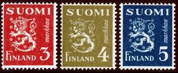 FINLAND 1945 Definitive Lions MI 298, 302, 303 **MNH Dextrine Invisible Gum - Finlandia