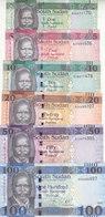 SOUTH SUDAN 1 5 10 20 50 100 POUND 2011 : 2017 P-NEW UNC CURRENT FULL SET Lot - South Sudan