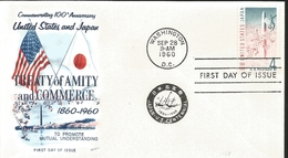 J) 1960 UNITED STATES, MASONIC GRAND LODGE, COMMEMORATING 100th ANNIVERSARY UNITED STATES AND JAPAN, FLAGS, TREATY OF AM - United States