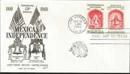 J) 1960 UNITED STATES, MASONIC GRAND LODGE, COMMEMORATING 150th ANNIVERSARY MEXICAN INDEPENDENCE, FLAG, INDEPENDENCE BEL - United States