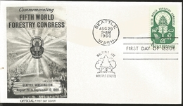 J) 1960 UNITED STATES, MASONIC GRAND LODGE, COMMEMORATING FIFTH WOELD FORESTRY CONGRESS, FDC - United States