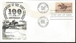 J) 1960 UNITED STATES, MASONIC GRAND LODGE, COMMEMORATING, ESTABLISHMENT OF THE PONY EXPRESS 100th ANNIVERSARY, HORSE, F - United States