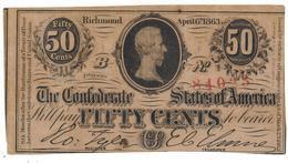 Confederate States Of America, 50 Cents RICHMOND, 1863. VF. RARE - Valuta Della Confederazione (1861-1864)