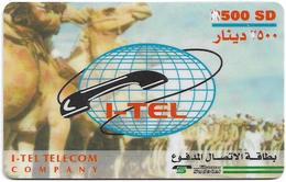 Sudan - Sudatel - I-Tel - Camels, Prepaid 500SD, Used - Soudan