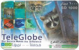 Sudan - Sudatel - TeleGlobe - Racoon, Prepaid 1000SD, Used - Soudan
