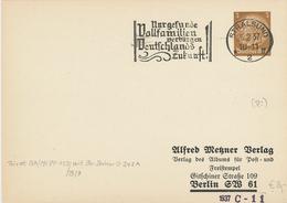 Hindenburg 3 Pfg Ganzsache Stralsund 1937 - Nur Gesunde Vollfamilien Verbürgen Deutschlands Zukunft  Metzner Verlag - Briefe U. Dokumente