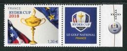 """Timbre** Gommé De 2018 En Bord De Feuille """"1,30 € - RYDER CUP 2018 Avec Croix De Repère Et Logo Dans La Marge"""" - Francia"""
