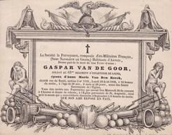 ANVERS NAPOLEON 1848 Gaspar VAN DE GOOR Ancien Du 63e Régiment De Ligne Avis Société De Prévoyance Ex-militaires EMPIRE - Overlijden