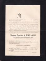 14-18 Médaille De La Reine Elisabeth Marie-Elise WAUTERS épouse Maurice De TERWANGNE Froidcour Stoumont 81 Ans 1926 - Overlijden