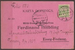 AUSTRIA / HUNGARY/ CROATIA. OSIJEK / ESSEG FORTRESS. PRE WW1 MILITARY POST. DIVISIONAL COMMAND BASED IN POZSONY. 1909. C - 1850-1918 Empire