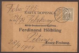 AUSTRIA / HUNGARY/ CROATIA. OSIJEK / ESSEG FORTRESS. PRE WW1 MILITARY POST. 1909. RITTER VON GRADL REGIMENT BASED IN PET - 1850-1918 Empire