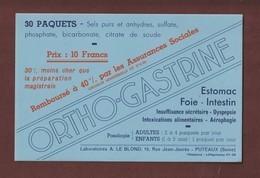BUVARD - ORTHO GASTRINE - Remboursé à 40% Par Les Assurances Sociales - Labo LE BLOND à PUTEAUX - 2 Scannes. - Drogerie & Apotheke