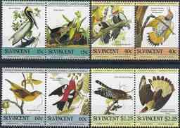 1985 SAINT VINCENT 812-19** Oiseaux, Audubon - St.Vincent (1979-...)
