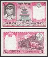 Nepal - 5 Rupees Banknote 1974 Pick 23 Sig.10 AUNC   (22843 - Banknoten