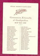 IMAGE PIEUSE... Liste Des Communions De Ecole Rocroy Saint Léon PARIS Xe (75) En 1938...2 Scans - Images Religieuses
