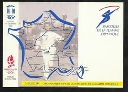 Carte Postale Parcours De La Flamme Olympique Et Logo J.O.d'Albertville (repro Des Timbres 2632 & 2732)  TB Soldé  ! ! ! - Winter 1992: Albertville