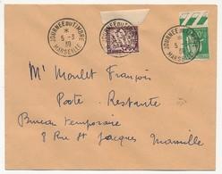 """FRANCE => Enveloppe - Cachet """"Journée Du Timbre MARSEILLE"""" 5/3/1939 Affr 90c Paix + Taxe Poste Restante - Francia"""