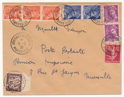 """FRANCE => Enveloppe - Cachet """"Journée Du Timbre MARSEILLE"""" 5/3/1939 Affr Composé Mercure / Semeuse + Taxe Poste Restante - Francia"""