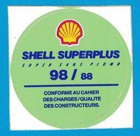 AUTOCOLLANT SHELL SUPERPLUS SUPER SANS PLOMB 98 / 88 CONFORME AU CAHIER DES CHARGES / QUALITE DES CONSTRUCTEURS - Stickers