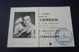 Boxe. N°150151.marcel Cerdan.maroc.casablanca.autographe Original.1948.rare - Autógrafos