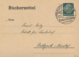 Hindenburg 6 Pfg - Bücherzettel Rudolstadt Nationalfestspiele 1939 Heidecksburg Zudruck - Germany
