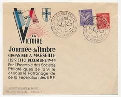 """FRANCE => Enveloppe Illustrée """"La Victoire"""" - Journée Du Timbre Marseille 9 Déc 1944 - Affr Mercure / Iris - Dag Van De Postzegel"""