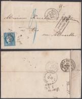 ALSACE Yv 60 SUR LETTRE DE MARSEILLE 17/08/1872 VERS MOSELLE AFFR INSSUFISANT TAXE  (8G35203) DC-3889 - Alsace-Lorraine