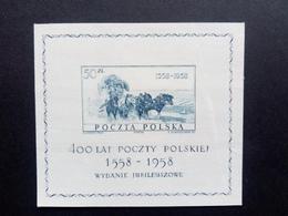 POLEN BLOCK 22 ** 400 JAHRE POLNISCHE POST 1958 PFERDEPOSTKUTSCHE - Horses