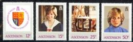 Ascension Sc# 313-316 MNH 1982 Princess Diana - Ascension