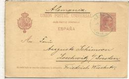 LAS PALMAS MAT COLOR AZUL ENTERO POSTAL AL DORSO MAT PAQUEBOT LOANGO MARSEILLE NUM. 3 1898 - Cartas