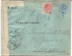 ZARAGOZA CC CON CARTERIA DE SAN JUAN DE........ A SUIZA CON CENSURA FRANCESA - Cartas